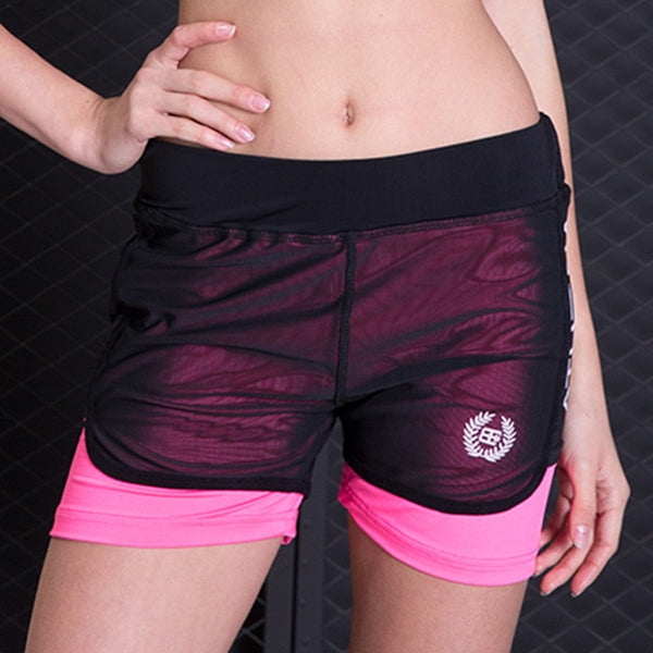 BINAND Letter Print Mesh Elastic Waist Sports Yoga Shorts Women Sweat-wicking Breathable Slim Fit Gym Workout Jogging Shorts - Fitness Adicts