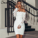 Sexy Halter Lace Hollow Slash Neck Skinny Off Shoulder Elegant Party Dress - Fitness Adicts
