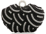 Peacock Diamonds Velvet Rhinestones Purse Crystal Chain Clutches - Fitness Adicts