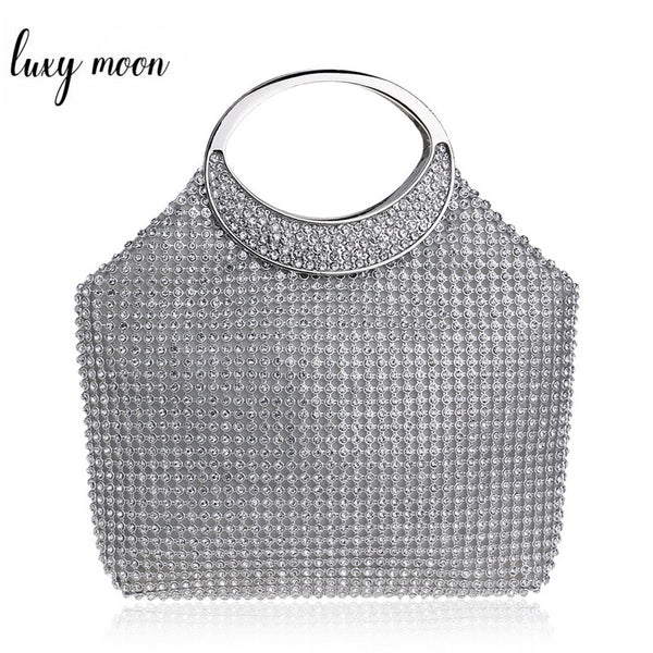 Luxury Rhinestone  Handbag Silver Color Wedding Party Clutch tote - Fitness Adicts