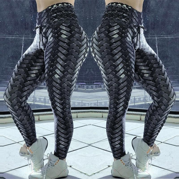 Black Weave Ruched Design Sport Leggins Women Fitness Yoga Pants 3D Gym Tights Sexy Push Up Sporty Leggings 2018 Girls Pants - Fitness Adicts