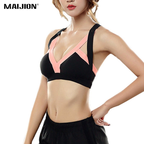 Sexy Backless Cross Strap Sports Bra Shockproof Padded Running Seamless Patchwork Fitness Crop Tops - Fitness Adicts