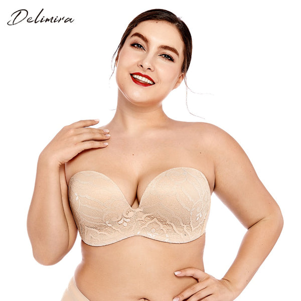 Sexy Lace Slightly Padded Underwire Lift Support Plunge Push Up Strapless Bra Plus Size - Fitness Adicts