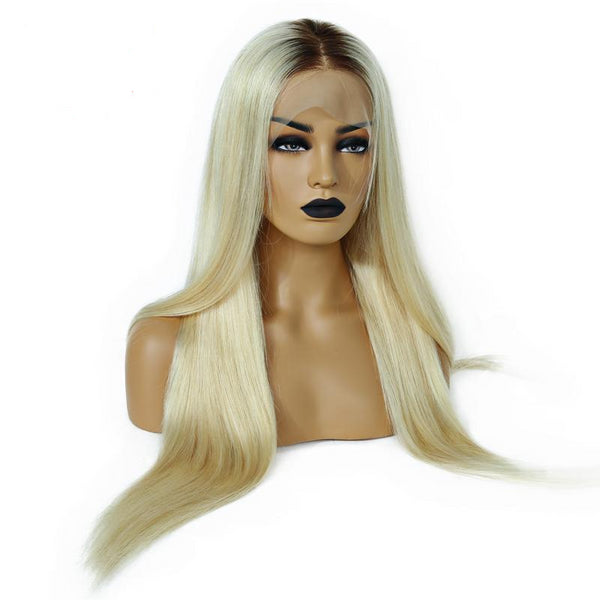 100% Brazilian Human Remy  hair Full Lace Wig 150% Density Ombre T4 613 Silky Straight Blonde Hair Hair - Fitness Adicts