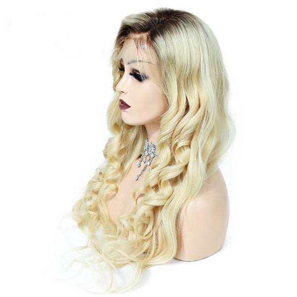 100% Brazilian Remy hair Human Hair Full Lace Wig 130% Density T4/613 Ombre Blonde Wavy Preplucked Hairline - Fitness Adicts