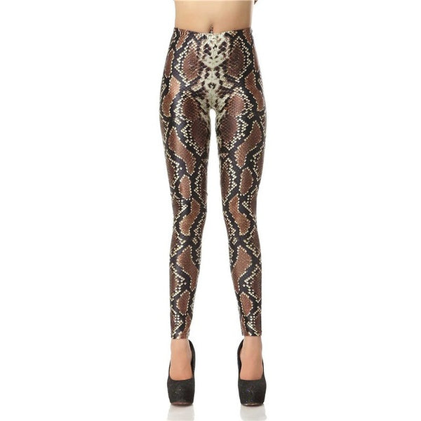 Fashion High Waist 3D Snake Skin Print Legging - Fitness Adicts