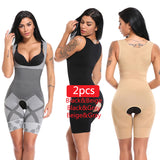 2PCS Women Full Body Shaper Waist Trainer Girdle Thigh Reducer Bodysuit Shapewear Corset Slimming Suits Body Shaper Charcoal - Fitness Adicts