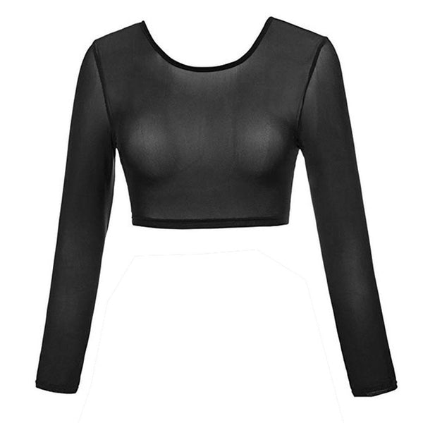 Newly Design Women Seamless See Through Arm Shaper Long Sleeve Mesh Blouse Female Lightweight Shapewear 81218 - Fitness Adicts