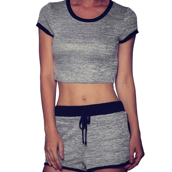 2019 Women Two Piece Set Cropped Short Sleeves O-Neck Elastic Drawstring Waist Stretch Fitness Suit 2 Pieces Sportswear Grey - Fitness Adicts