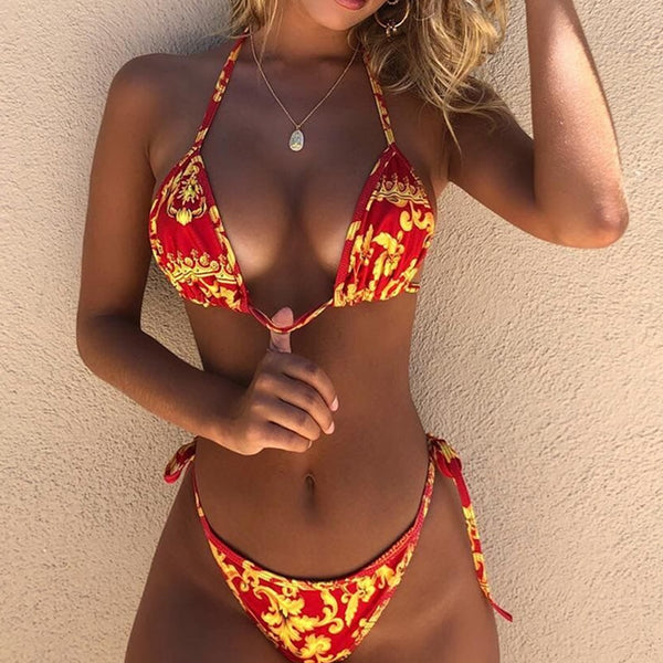 Sexy  red hot lace up padded bikini Push up high two-piece suit - Fitness Adicts