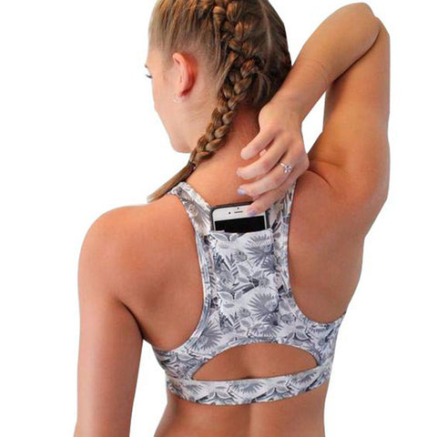 Women Solid Sport Bra Back Pocket Running Yoga Bras Padded High Impact Workout - Fitness Adicts