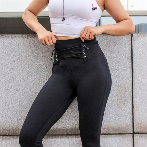 RW Cross Strap Design Black Tight Women Sports Leggings Yoga Running Training Fitness Anti-sweat Demale High Elasticity Pants - Fitness Adicts