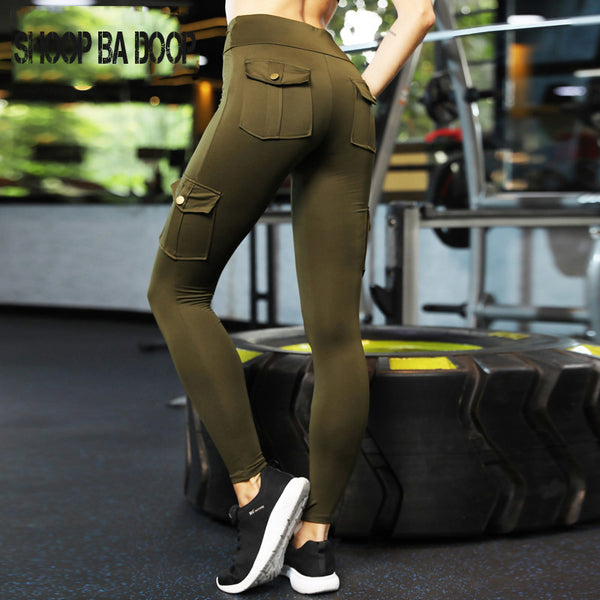 SHOOPBADOOP Solid Active Wear Multi-Pocket Design Yoga Pants Running Tights Sport Leggings Fitness Trousers Gym Pants S-XL 2019 - Fitness Adicts