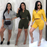 Fashion Two Piece Sets Women Tracksuit Sportswear  Long Sleeve Crop Tops Shorts Pants 2018 Summer Autumn Women Clothes - Fitness Adicts