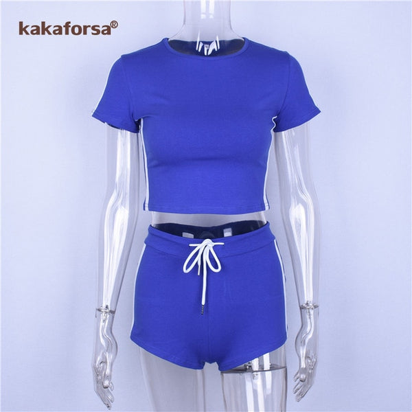 Kakaforsa Women Sport Suits Sexy Crop Tops+Shorts Tracksuit 2 Piece Set Gym Running Set Exercise Clothes Quick Dry - Fitness Adicts
