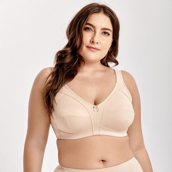 Non-Padded Wire Free Comfort Lift Full Coverage Support Plus Size Bra - Fitness Adicts
