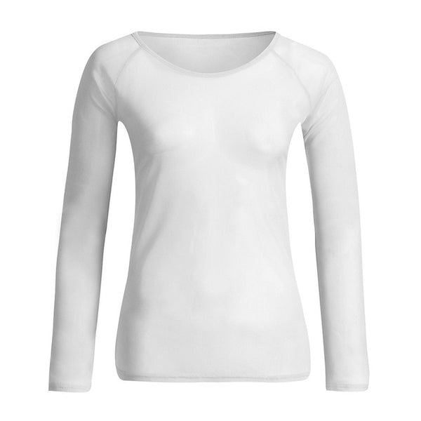 Sexy Womens Blouse See-Through Long Sleeve Seamless Arm Shaper - Fitness Adicts