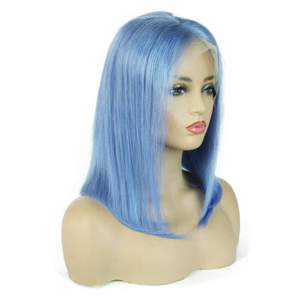Pre Plucked Short Bob Light Blue 100 Human Hair Lace Front Wigs Real Hair - Fitness Adicts