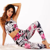 2 Piece Yoga Set Floral Print Bra Hip-Lifting High Waist Leggings - Fitness Adicts