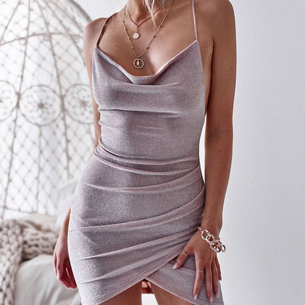 SexySequins Sexy V-Neck Backless  Cocktail Slim Dress - Fitness Adicts