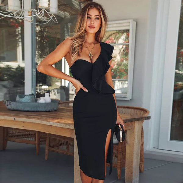 Sexy Bandage Dress  Ruffles One Shoulder Black Dresses Bodycon Celebrity Party Dress - Fitness Adicts