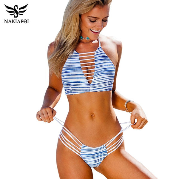 High Neck Cut Out Brazilian Bikini Set - Fitness Adicts