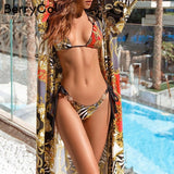 Triangle chain print ethnic swimsuit two piece bodysuit - Fitness Adicts