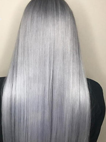 100%  Peruvian Straight Human Hair Gray Color 360 Lace Frontal Wig Pre Plucked With Baby Hair Grade 10A - Fitness Adicts