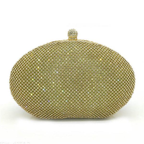 Luxury Full Crystal Rhinestone  Clutch Oval Shaped  Elegant  Mini Handbags Chain Shoulder - Fitness Adicts