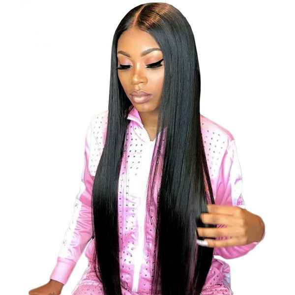 100% Brazilian Human Hair Straight 360 Lace Frontal Wig Natural Color 150% 180% Density Wig - Fitness Adicts