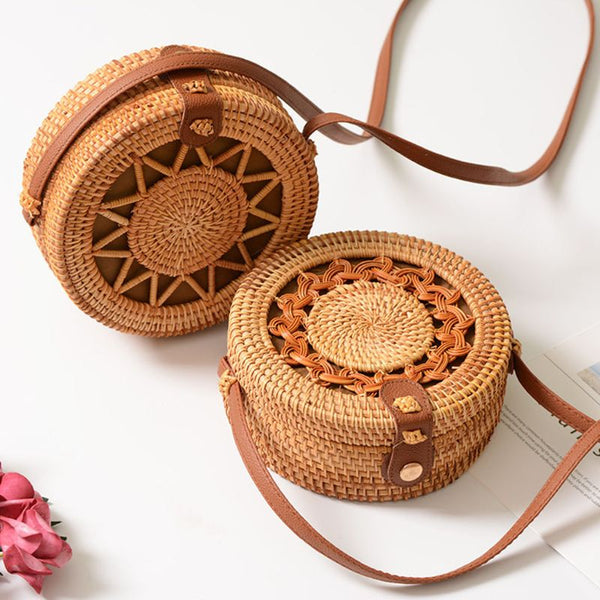 Round Rattan Shoulder Bag Fashion Bohemian Beach  Handbag - Fitness Adicts