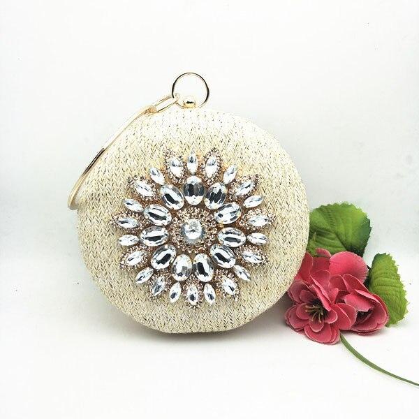 Circle Flower Diamonds Straw Weave Rhinestone Party Clutches - Fitness Adicts