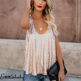 Sequin  Tops Female Sleeveless Round Neck Tops - Fitness Adicts
