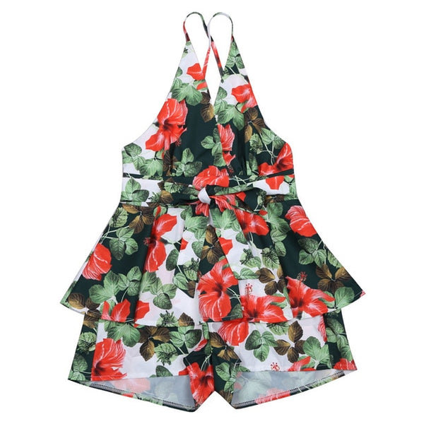 Sexy Floral Jumpsuit Sleeveless High Waist Romper - Fitness Adicts