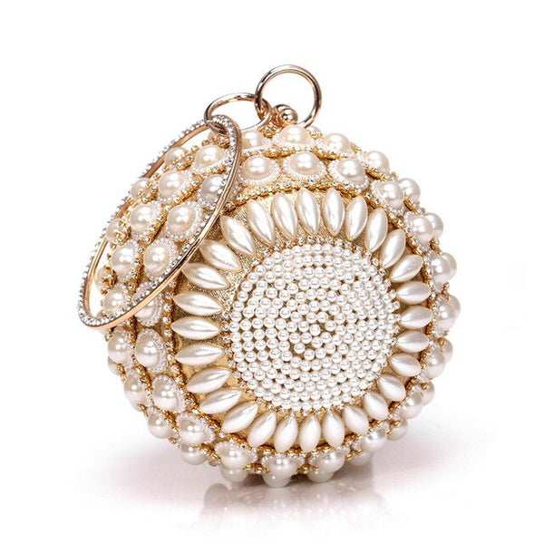 Luxury Fashion Round Shaped  Full Pearls Beaded Rhinestone  Mini Handbags - Fitness Adicts