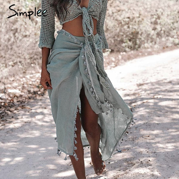 Elegant Sexy tassel sarong shawl cover-ups Summer style beach wear wraps - Fitness Adicts