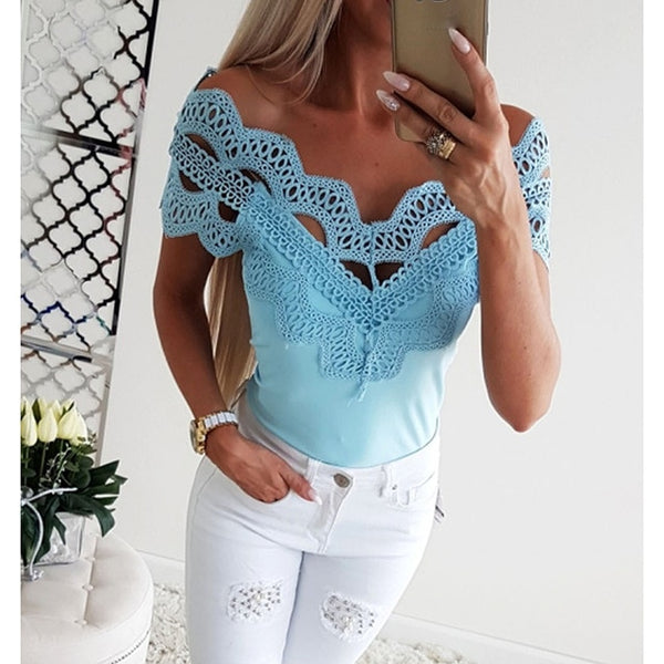 Sexy Blouse  Low Cut V Neck Lace Shirt Off Shoulder Top Tunic - Fitness Adicts