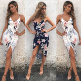 Sexy Strappy Dress Boho Floral High Waist Mid-calf V-neck Sundress - Fitness Adicts