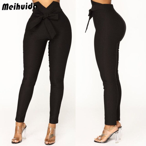 High Waist Drawstring Elastic Long Pants - Fitness Adicts
