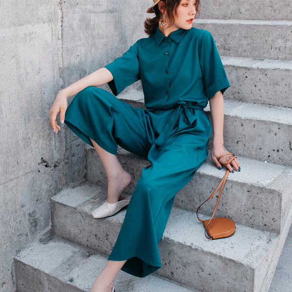 Short Sleeves Green High Loose Wide Legs Jumpsuit - Fitness Adicts