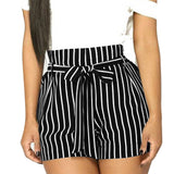 Shorts Loose Elastic Casual High Waist Drawstring Striped Sashes Short Pants - Fitness Adicts