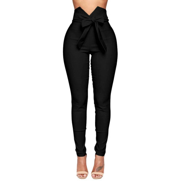 High Waisted Bow Tie Pencil Pants - Fitness Adicts