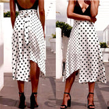 High Waist Dot Print Irregular Skirt - Fitness Adicts