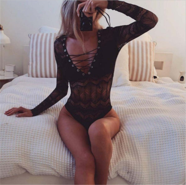 Lace Floral Bodysuit Long Sleeve Bandage V Neck Translucent Mesh - Fitness Adicts