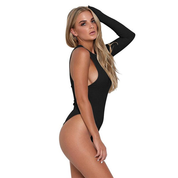 Off Shoulder  One Sleeve  High Waist Sexy Bodysuit - Fitness Adicts