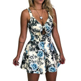 New Sexy Sleeveless Deep V Neck  Floral Printed High Waist Jumpsuit - Fitness Adicts