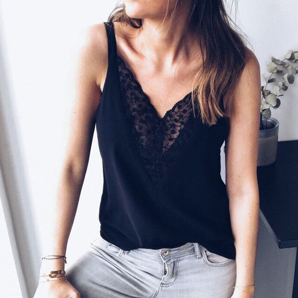 Lace Thin Camis Deep V Neck Camis Tank Top High Quality  Sleeveless - Fitness Adicts