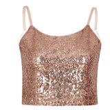 Sequin Crop Top  Wine Red Sleeveless Streetwear - Fitness Adicts