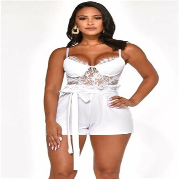 Lace Camisole V Neck Sleeveless Playsuit Sexy Shorts Jumpsuit - Fitness Adicts