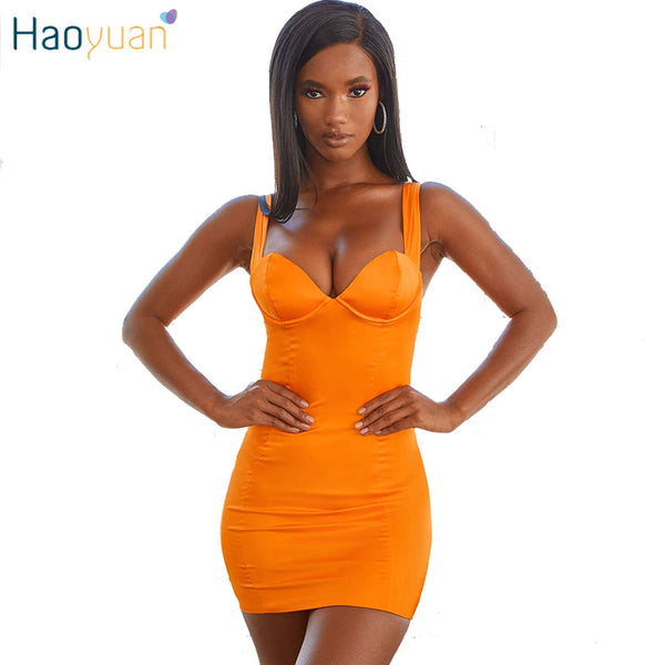 Neon  Orange Sexy Party Dress - Fitness Adicts